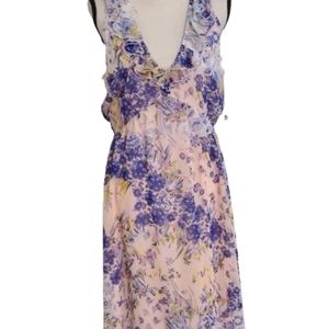 Leith Floral Pink & Blue Ruffle High/Low Dress - M
